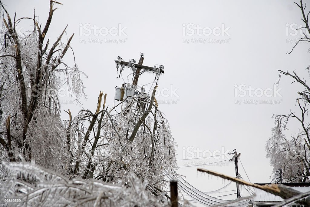 Icy Power Pole Falling stock photo