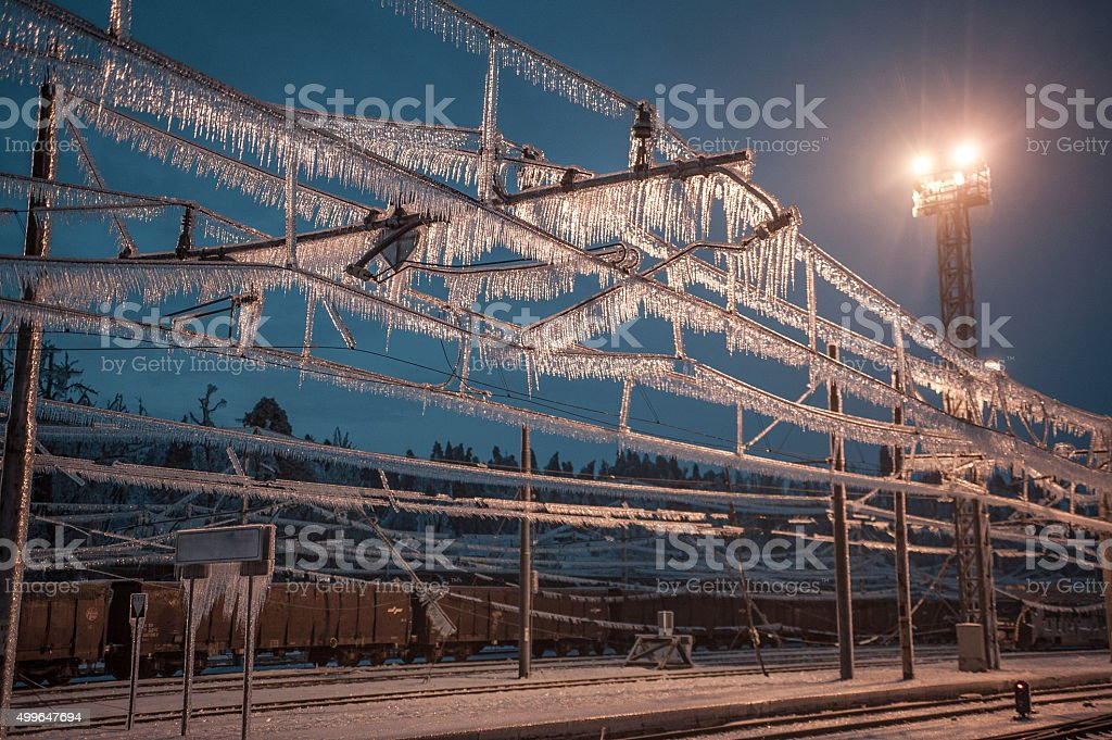 Icy Power Pole - train station stock photo