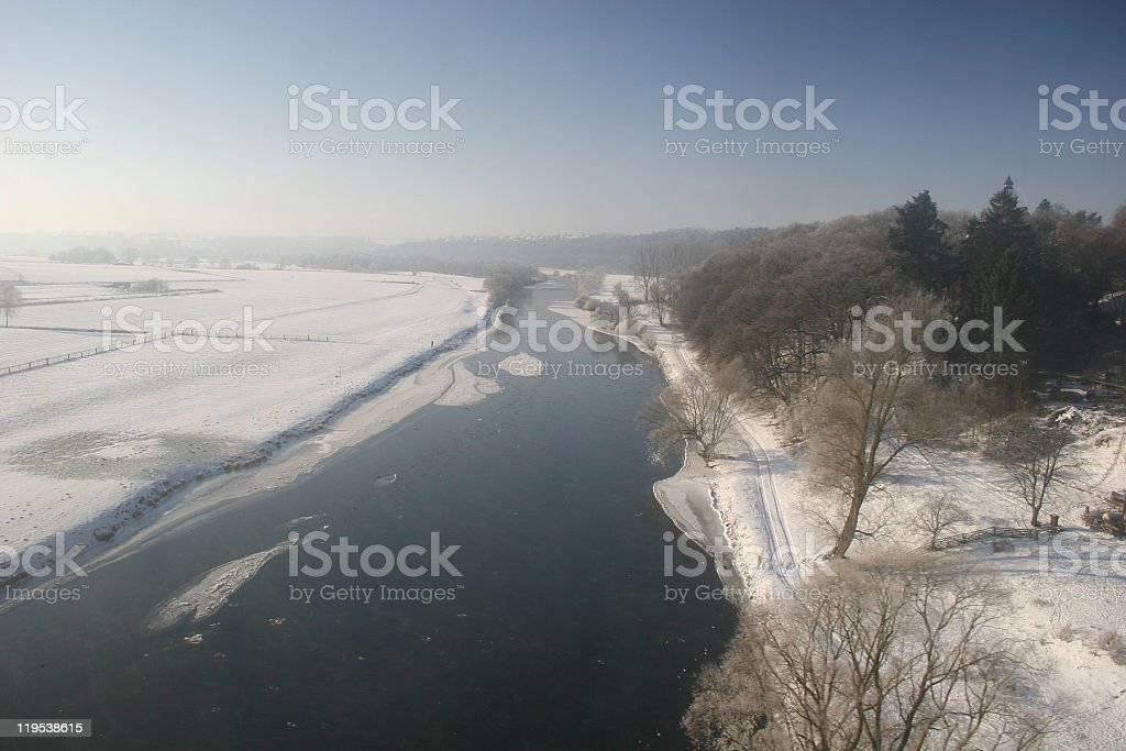 Icy river Fulda near Kassel, Germany stock photo