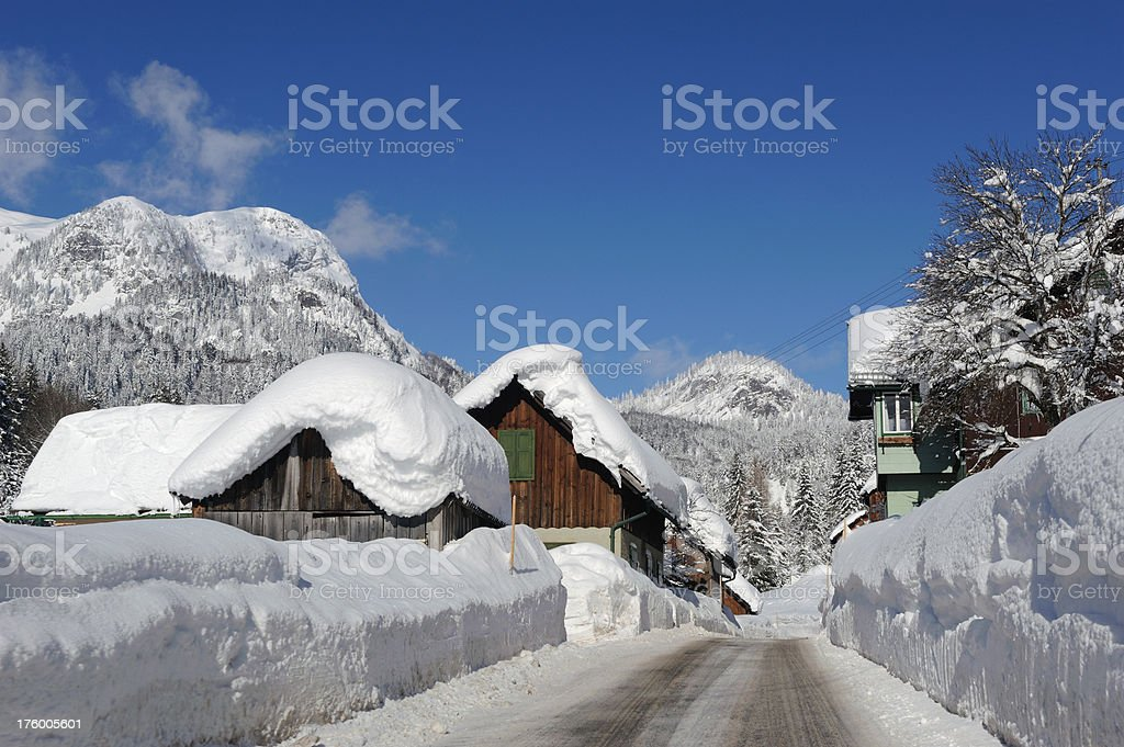 Icy Road covered with Snow - Day after heavy snowstorm royalty-free stock photo