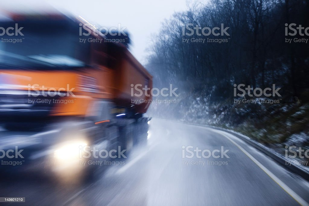 Icy road stock photo