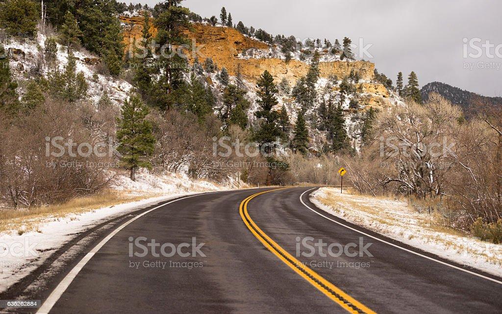 Icy Roadway Utah Territory Highway 89 Winter Travel stock photo