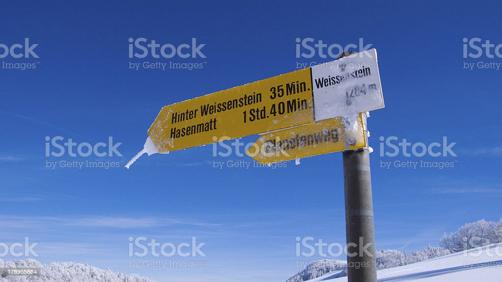 icy sign post stock photo