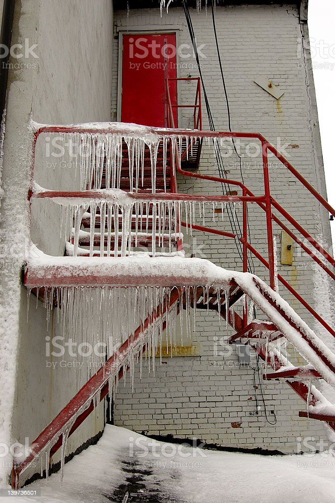 icy stairs royalty-free stock photo