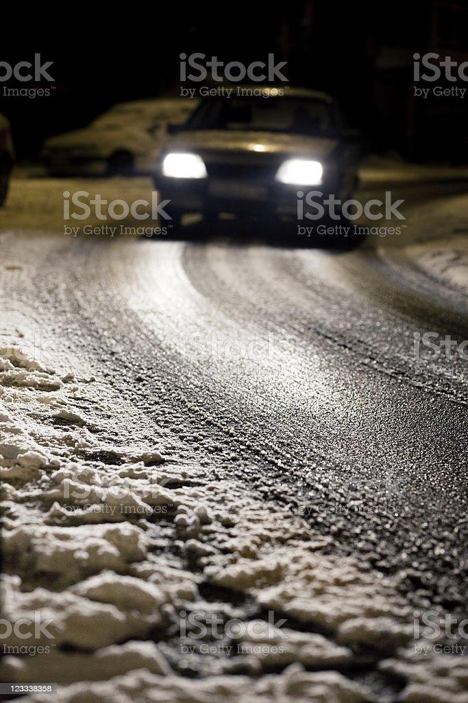 Icy street at night royalty-free stock photo