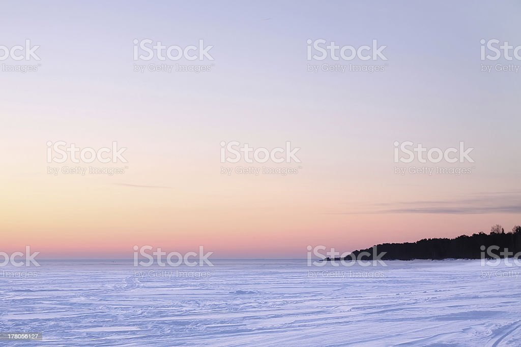 Icy surface of the Ladoga lake royalty-free stock photo