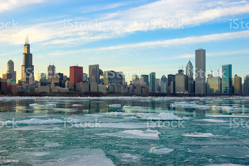 Icy View of the Chicago Skyline royalty-free stock photo
