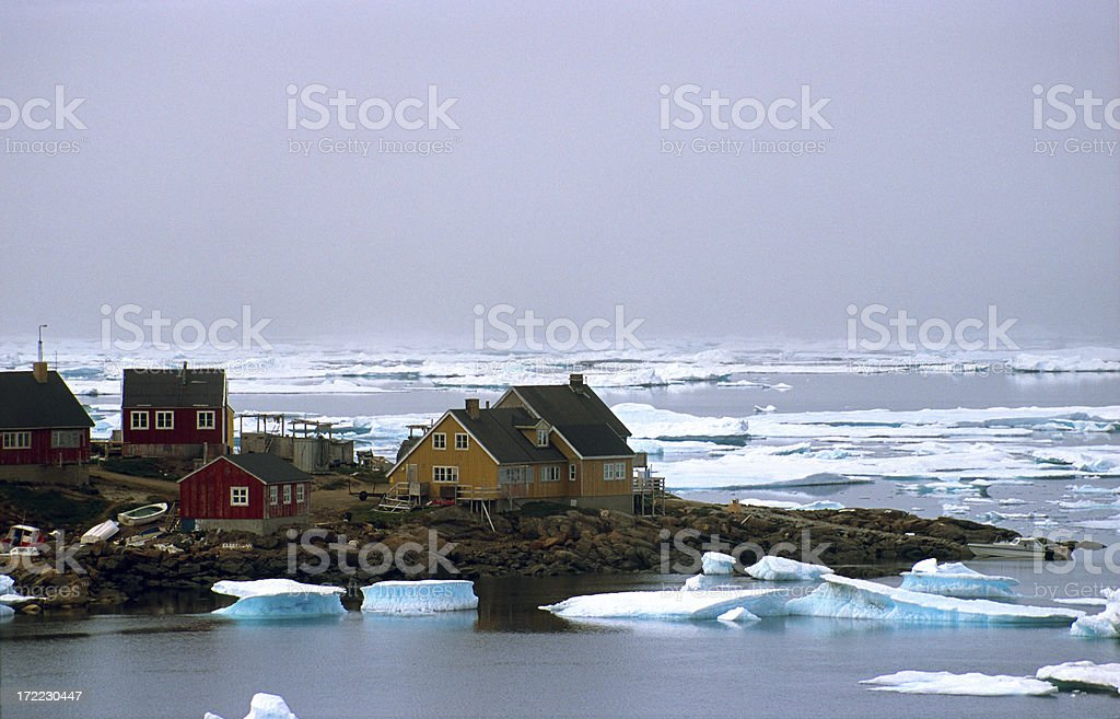 Icy village in Greenland royalty-free stock photo