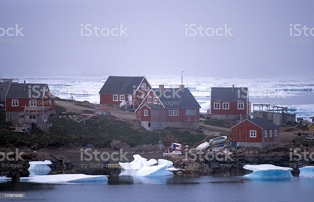Icy village in Greenland stock photo