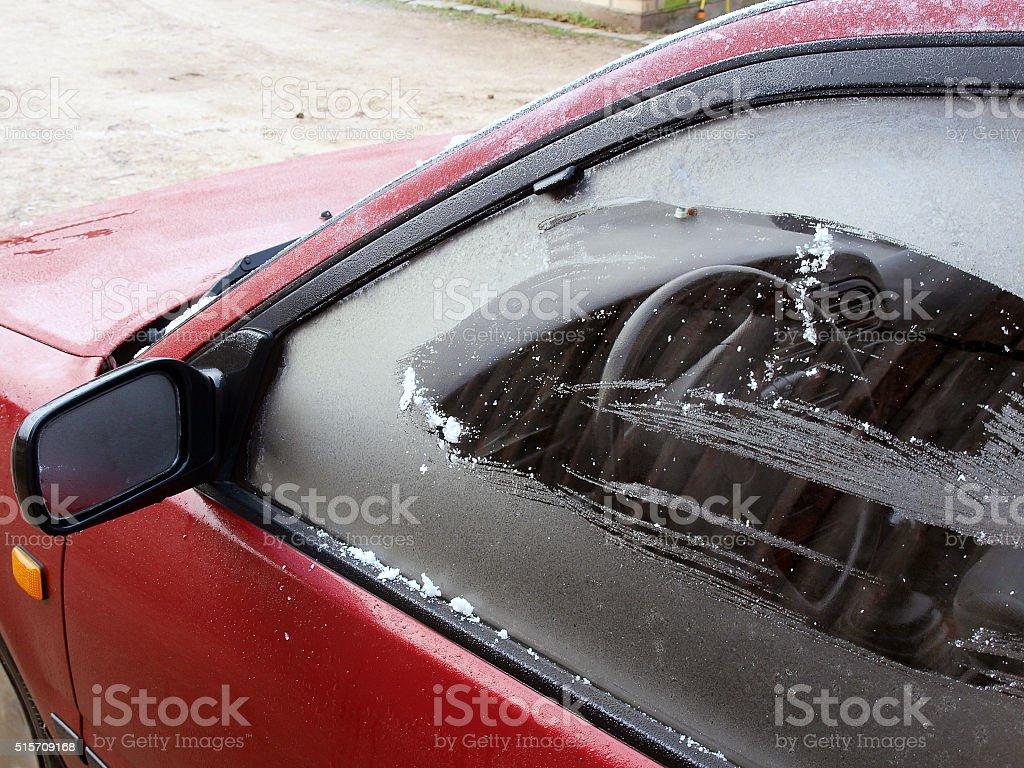 Icy window stock photo