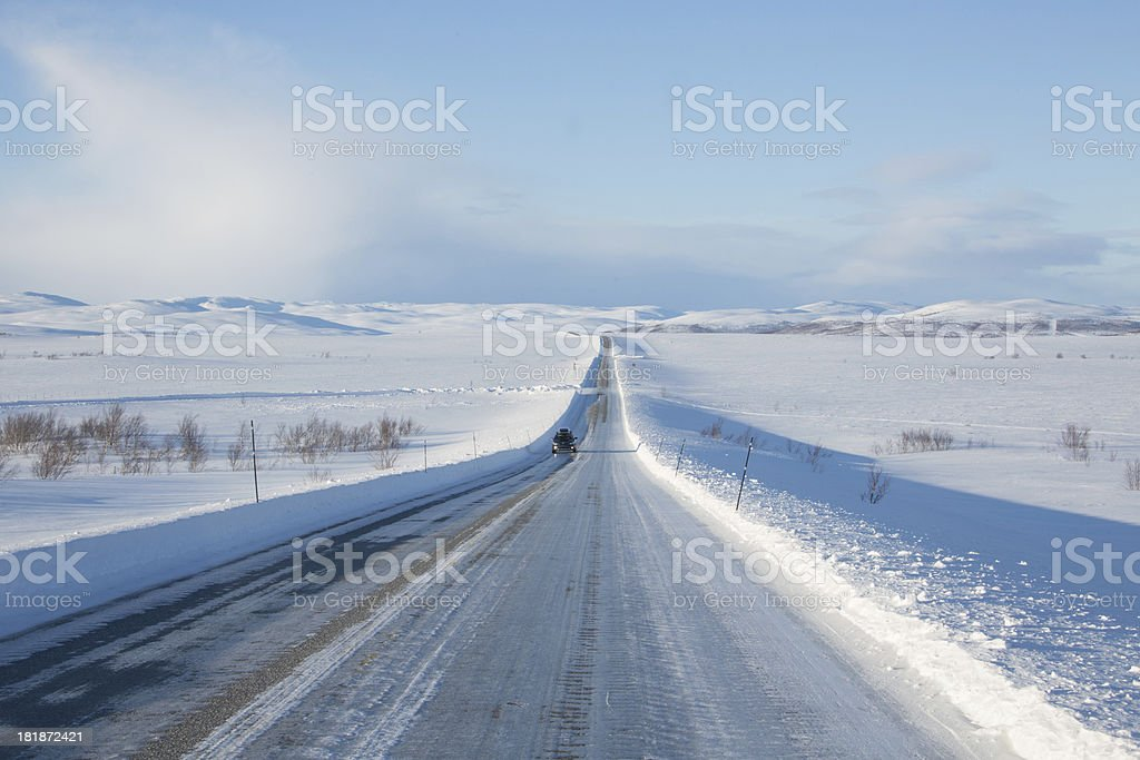 Icy winter road  in Norway royalty-free stock photo