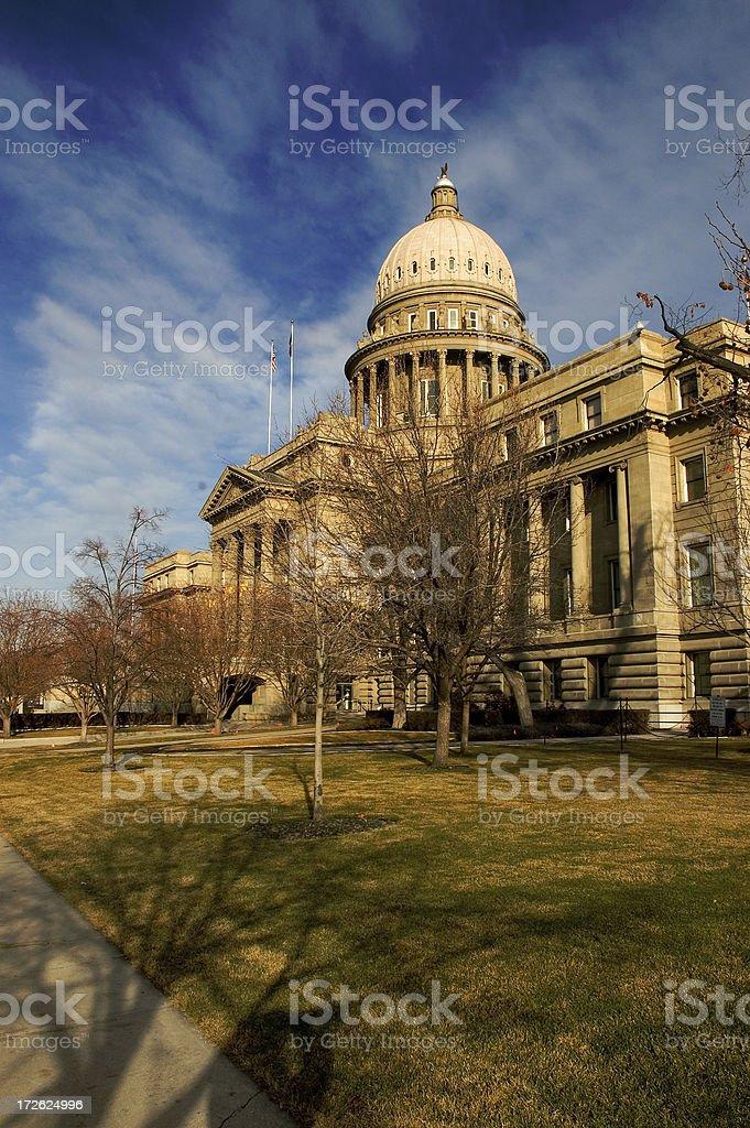 Idaho capital building under blue sky with dramatic shadow stock photo
