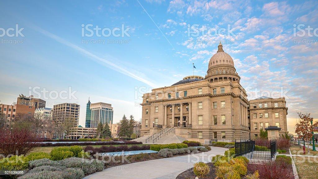 Idaho capital building with sidewalk stock photo