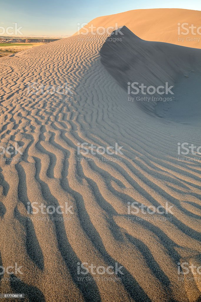 Idaho desert sand dune with ripples stock photo
