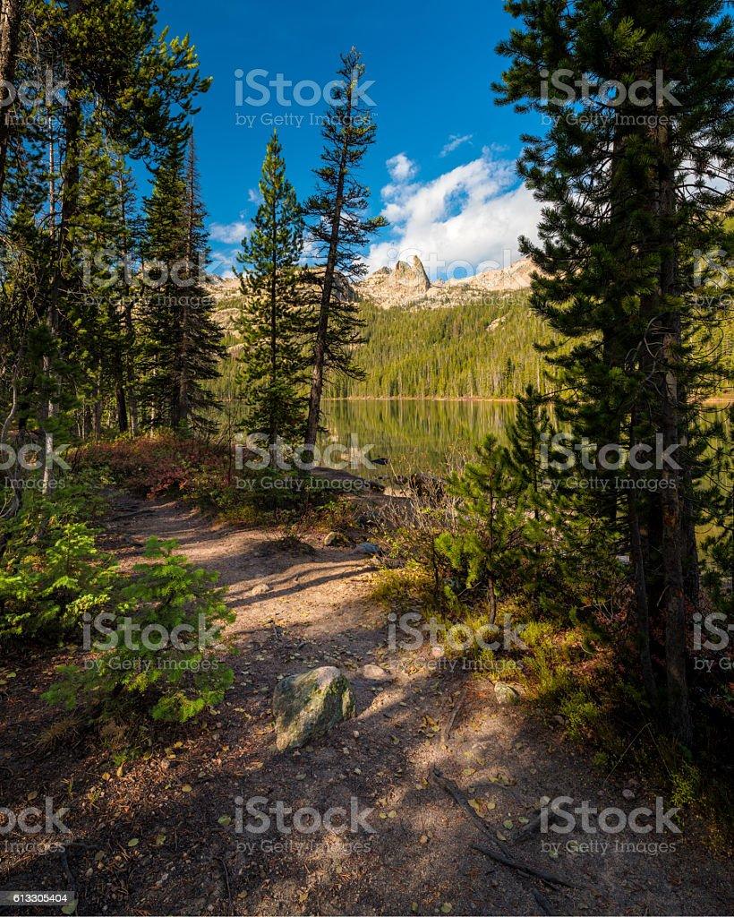 Idaho mountain lake trail in the fall stock photo