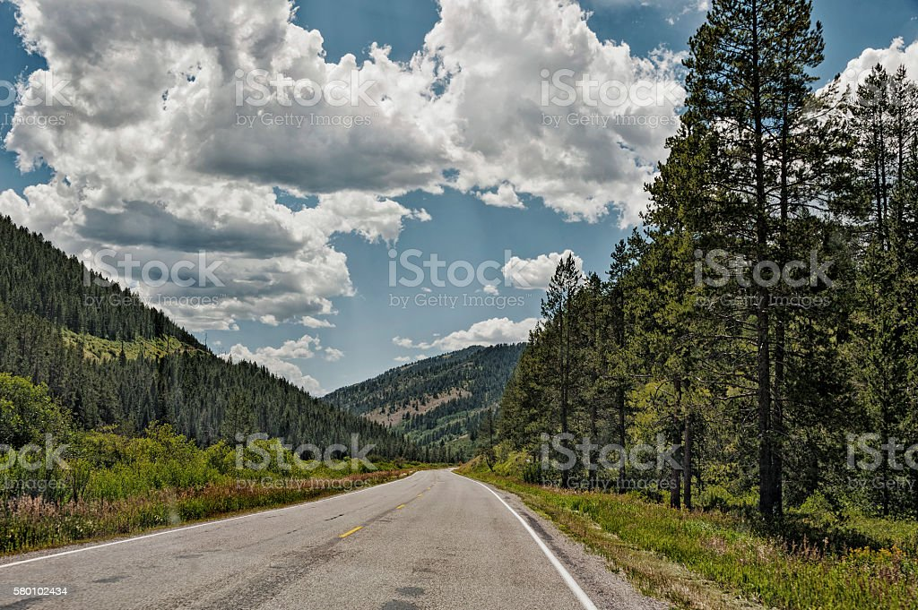 Idaho Road Views under a Cloudy Sky stock photo