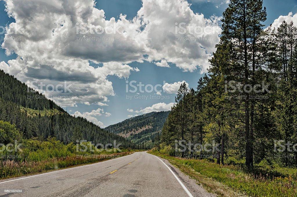 Idaho Road Views under a Cloudy Sky stock photo