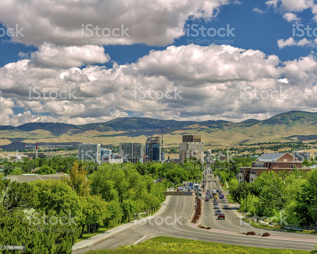 Idaho state capital at the end of a main street stock photo