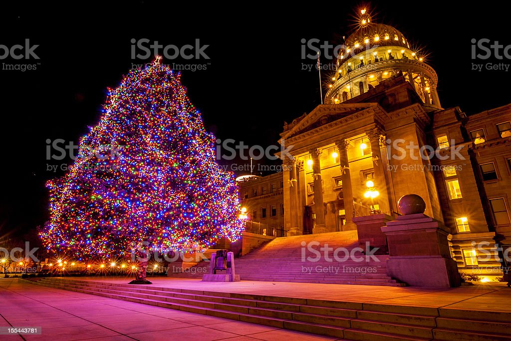 Idaho State Capitol and Christmas tree stock photo