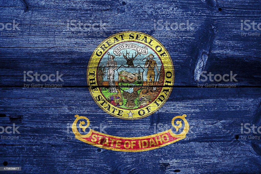 Idaho State Flag painted on old wood plank texture royalty-free stock photo