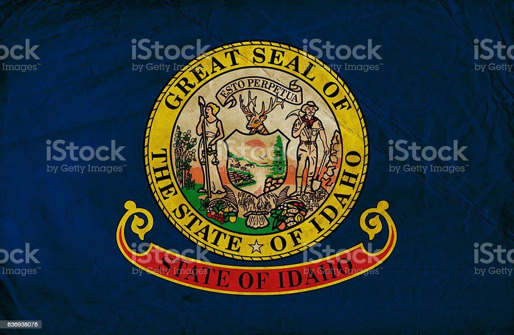 Idaho State grunge Flag stock photo