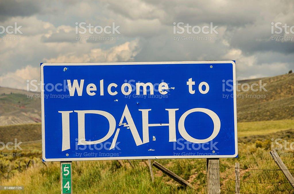 Idaho Welcome Sign stock photo