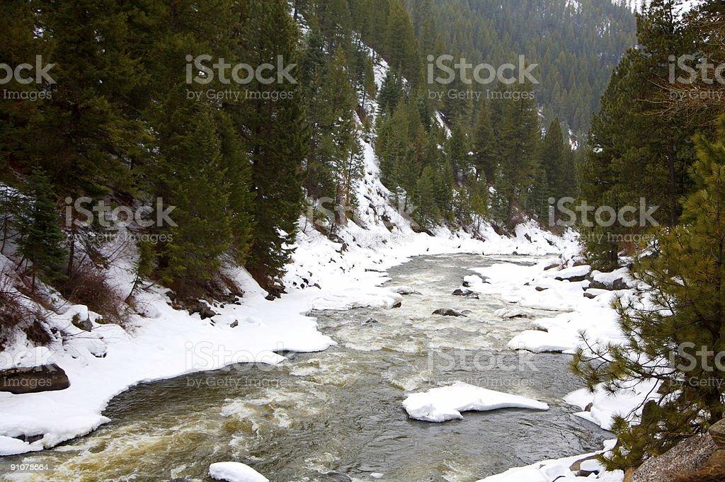Idaho winter scenes - mountain river royalty-free stock photo