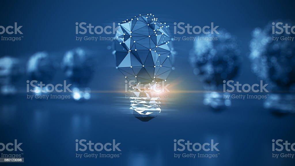 Idea bulb 3d poly stock photo