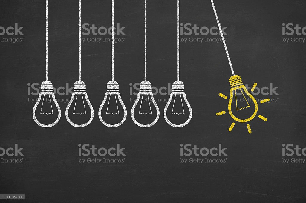 Idea Bulb Concept Drawing on Blackboard stock photo