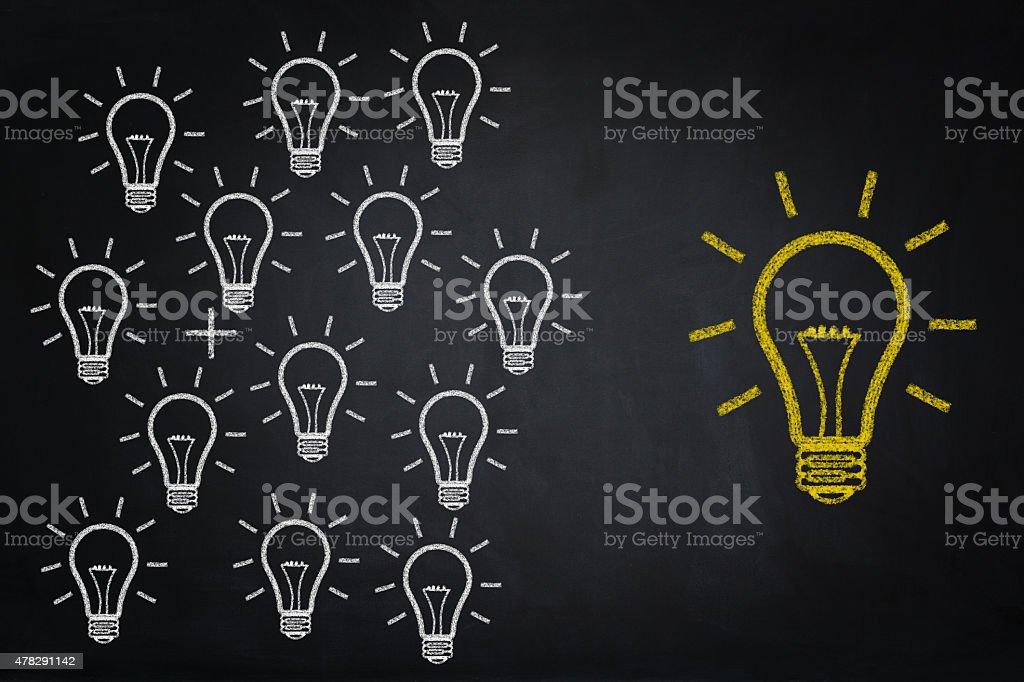 Idea Bulbs drawing on chalkboard stock photo