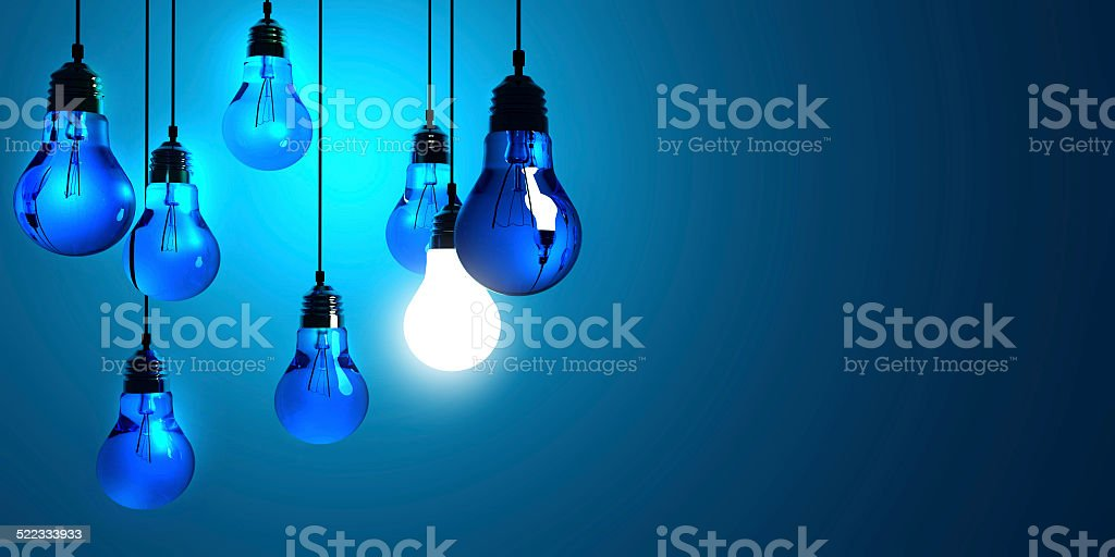 Idea concept, Hanging light bulbs stock photo