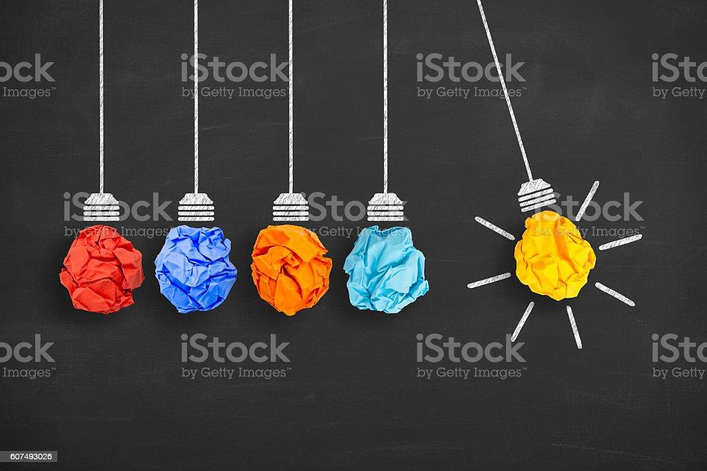 Idea Concept Light Bulb Crumpled Paper on Blackboard stock photo
