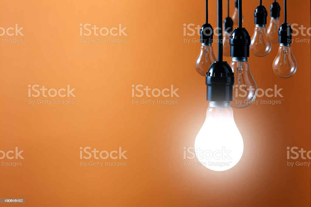 Idea concept on orange background stock photo