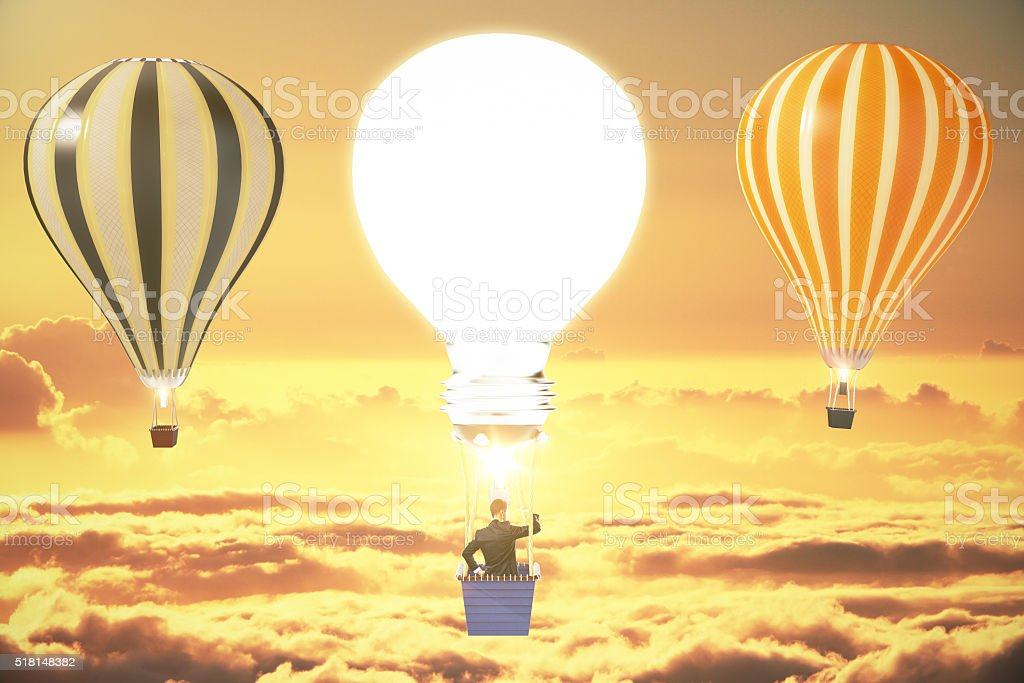 Idea concept three ballons stock photo