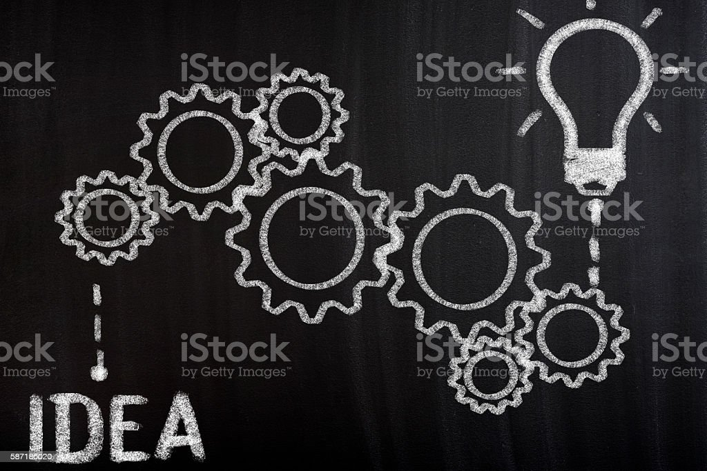 Idea Concept with gear wheels stock photo