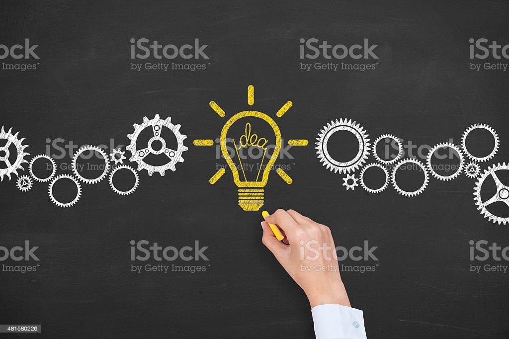 Idea Conceptual Drawing on Blackboard stock photo