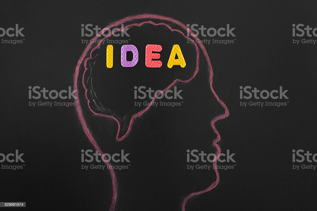 Idea in the head on blackboard. stock photo