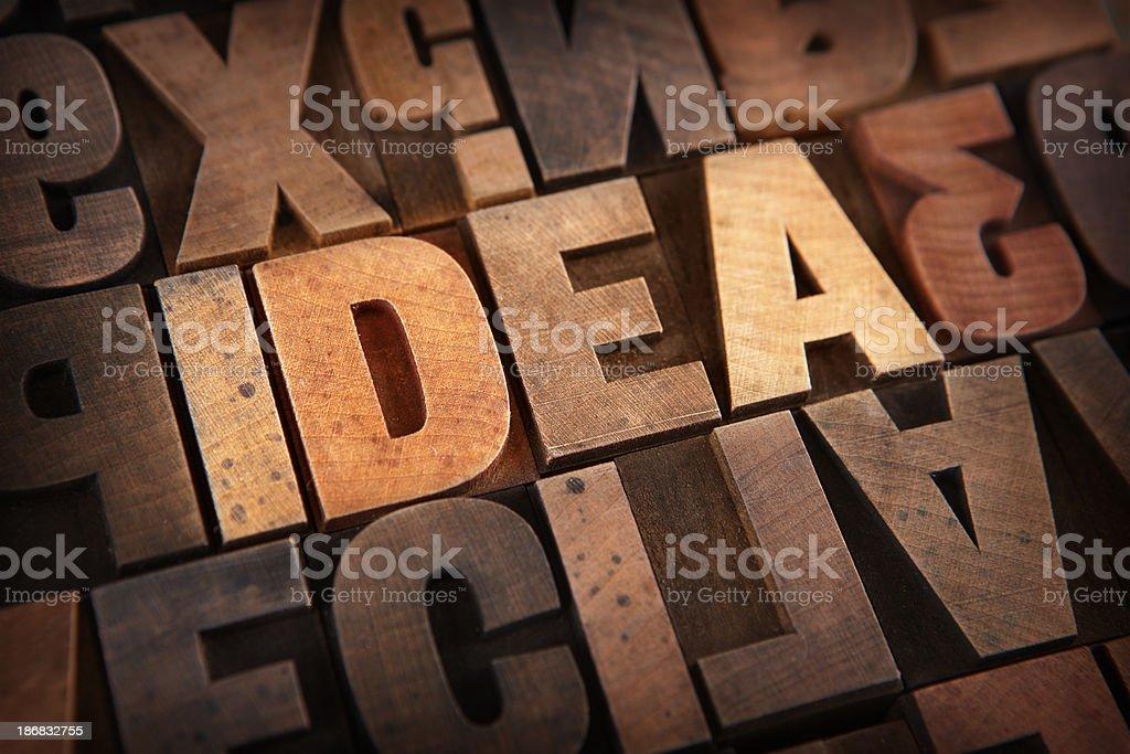 Idea - Letterpress letters stock photo