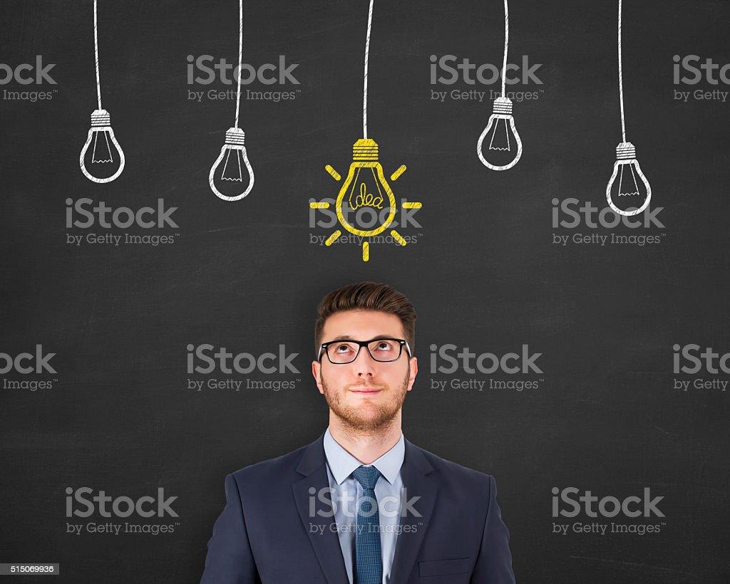 Idea Light Bulb on Blackboard stock photo