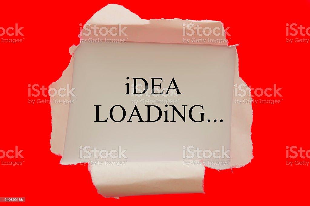 idea loading written under red torn paper stock photo