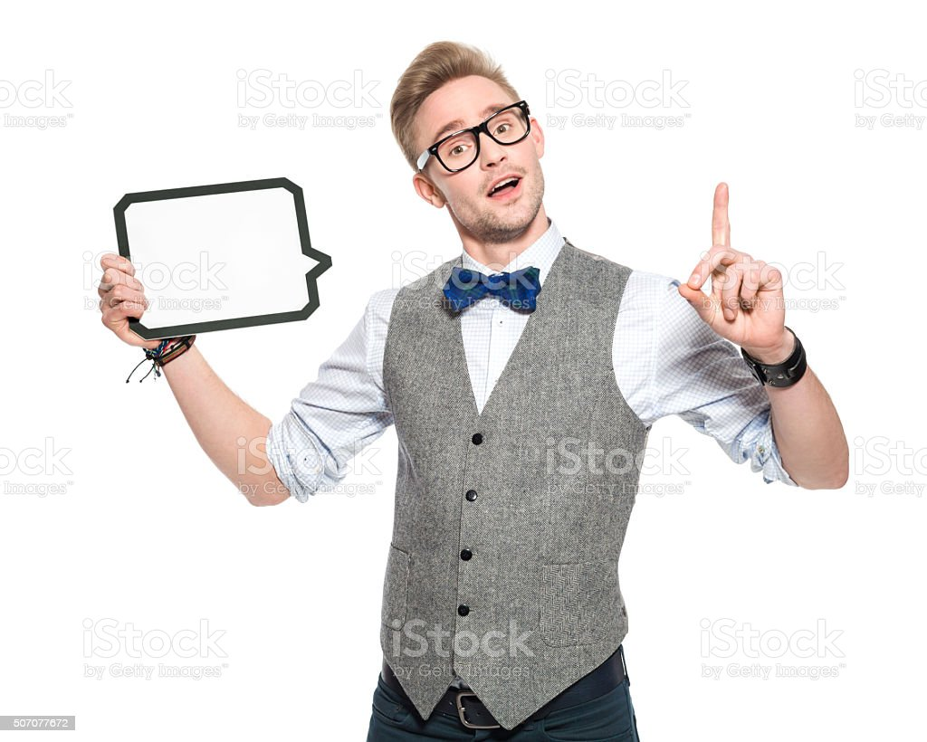 Idea. Man in classical outfit holding speech bubble stock photo
