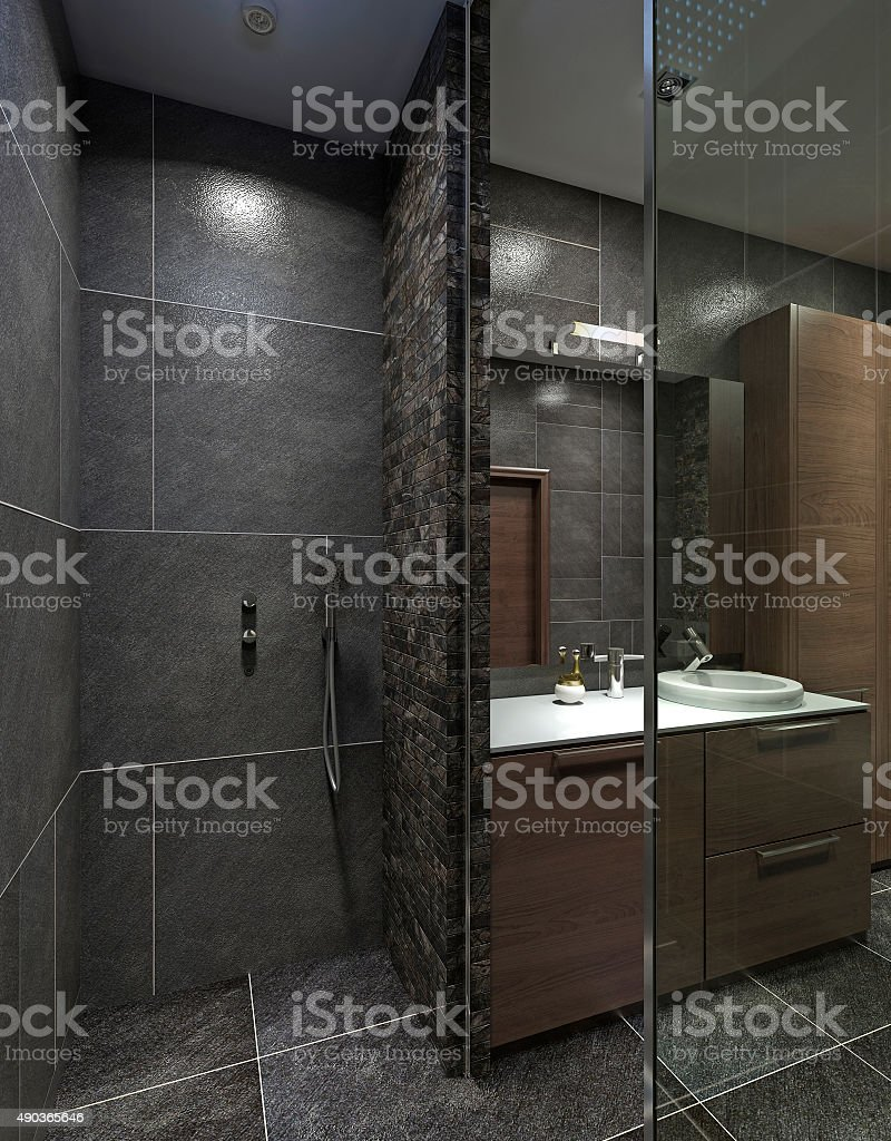 idea of bathroom with a shower and a washbasin console. stock photo