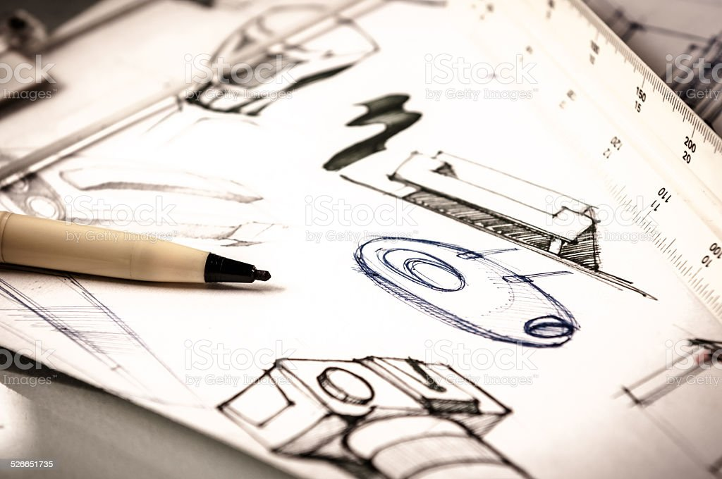 idea sketch of product design stock photo