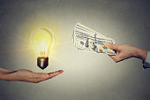 Idea trading for money concept.