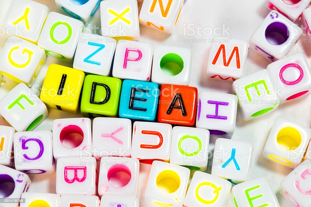 Idea word written on plastic block stock photo