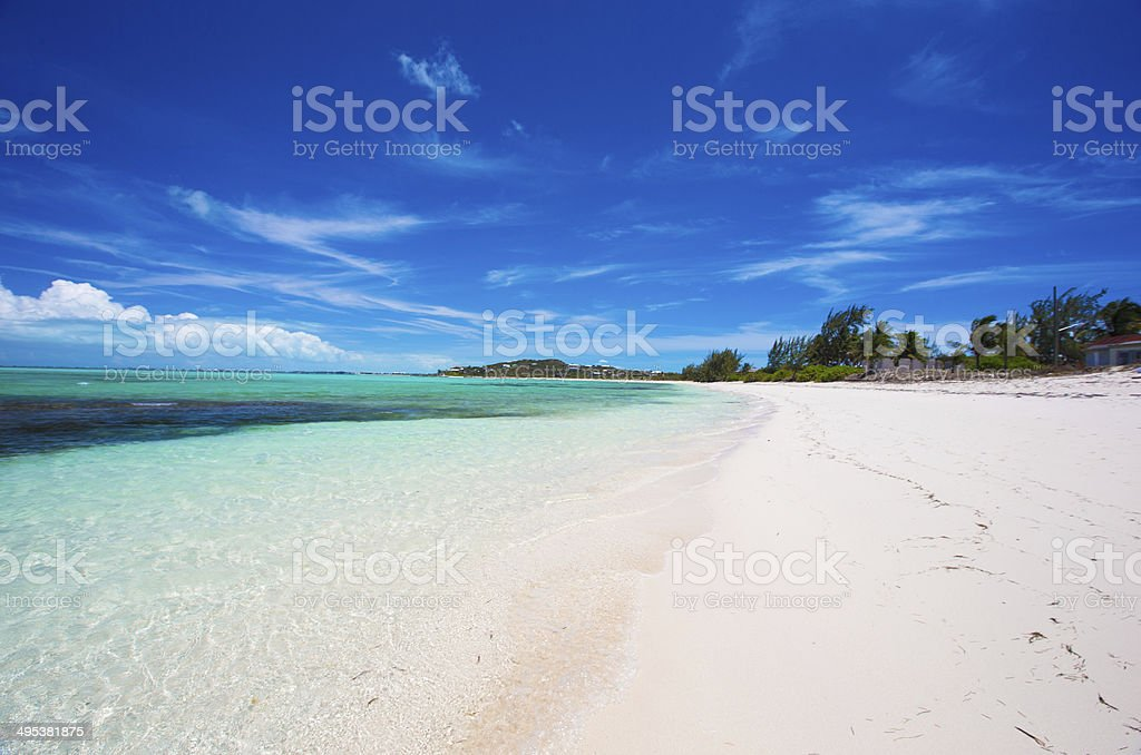 Ideal white beach in the Caribbean stock photo