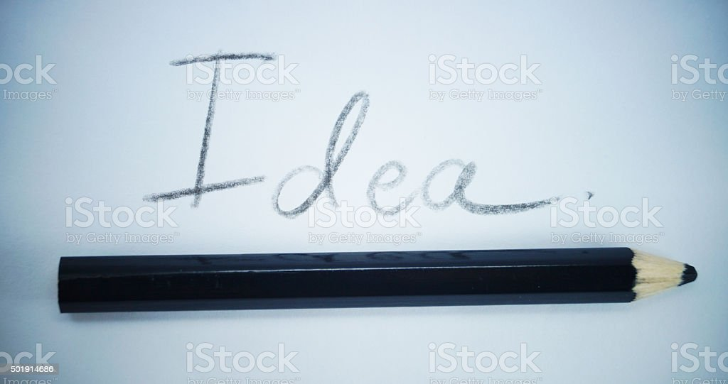 idear word with pencil underlined stock photo