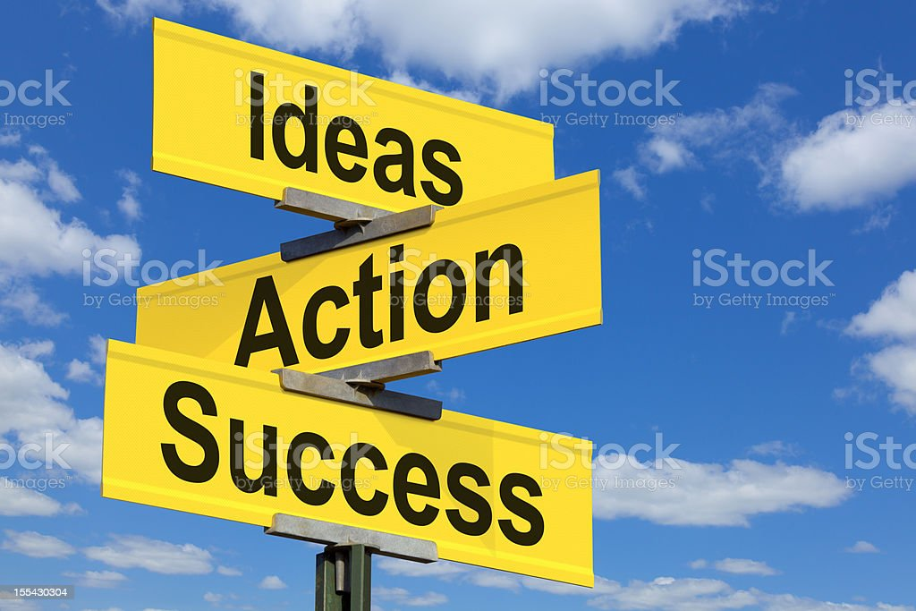 Ideas, Actions, Success Road Sign royalty-free stock photo