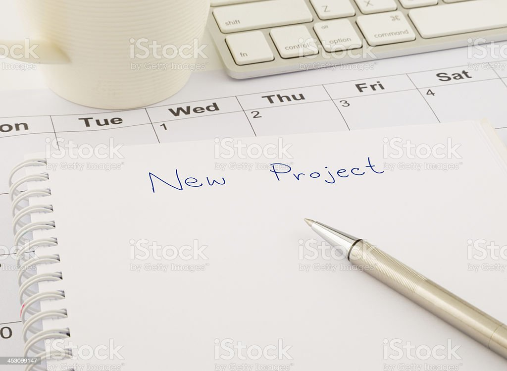 Ideas for new project, blank paper on office table royalty-free stock photo