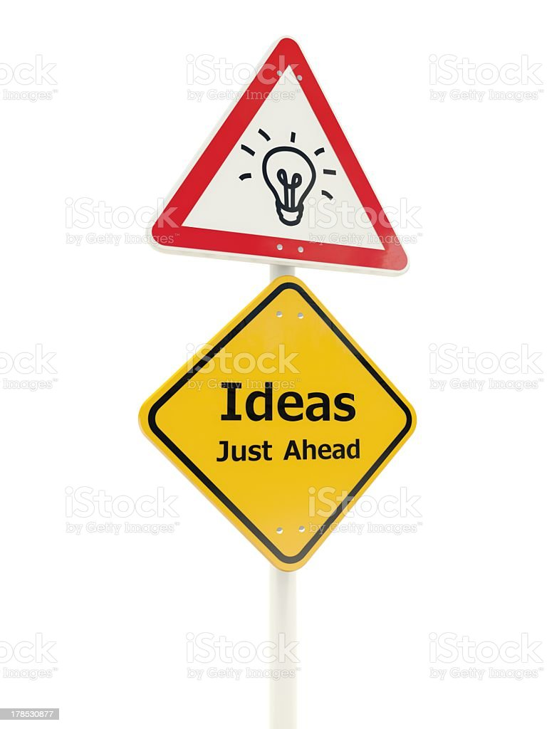 Ideas just ahead road sign royalty-free stock photo